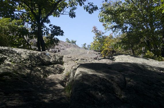 Scramble up a couple rock slabs