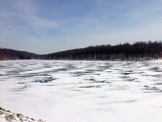 Snow on reservoir