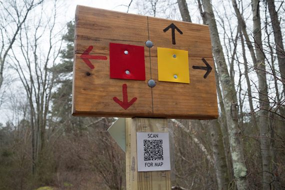 Red and Yellow and a QR code for the map