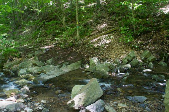 First stream rock-hop, over Scout Run