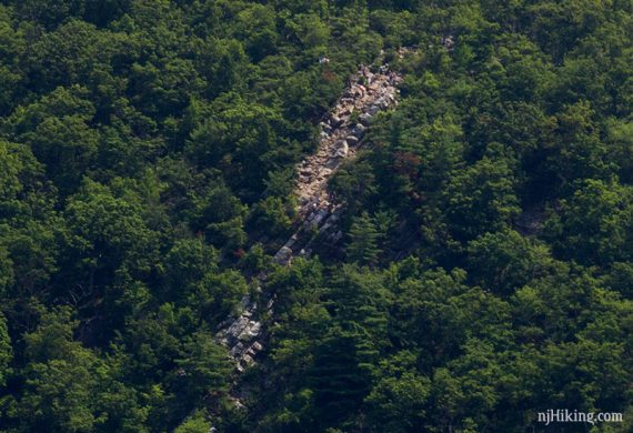 Zoom in to see hikers on the rocks of Mt Tammany
