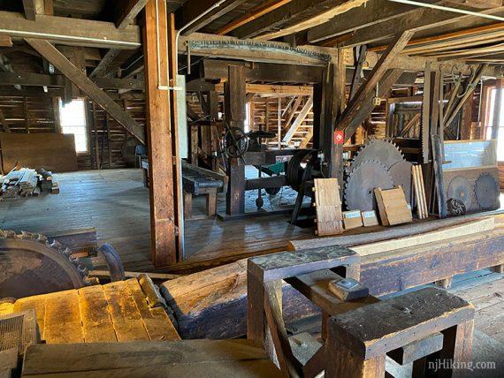 Inside the sawmill