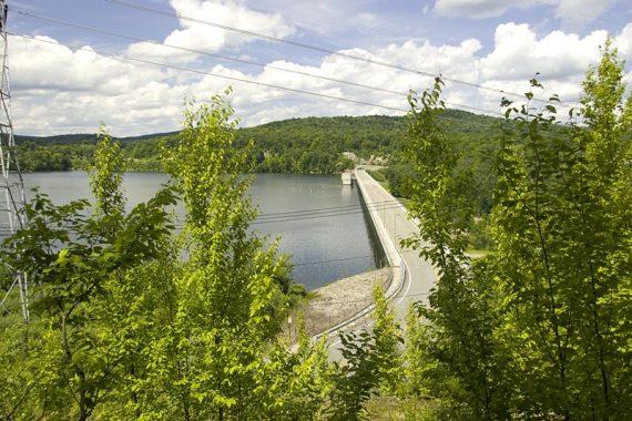 Monksville Reservoir dam seen from a side trail