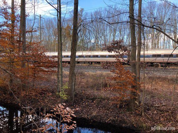 Train visible along BLUE trail