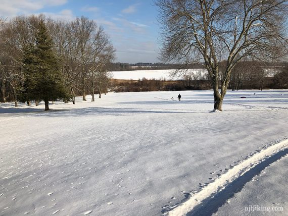 Monmouth Battlefield covered in snow