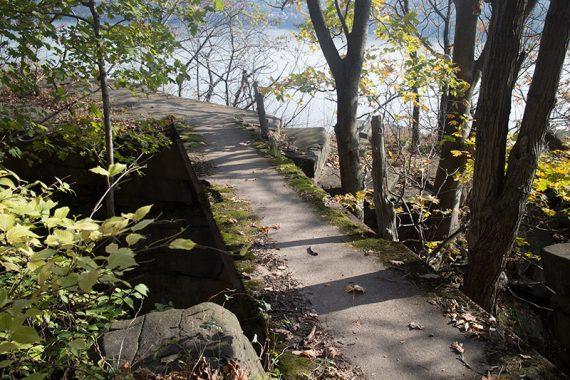 Cross concrete to get to Grey Crag