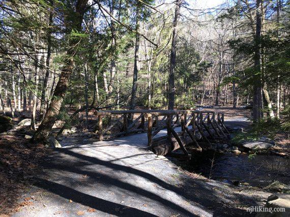Bridge where the trail splits into a loop around Dingmans Creek