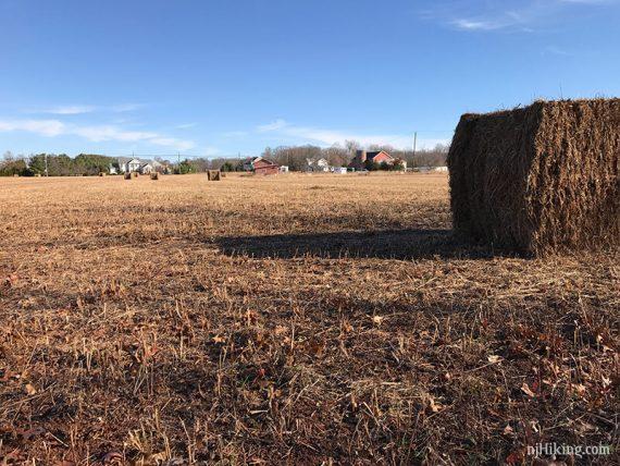 Trail skirting a farm