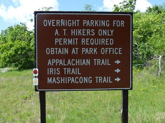 Hiker parking lot sign for AT, Iris, and Mashipacong trails