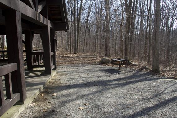 RED/WHITE trail goes by a picnic area