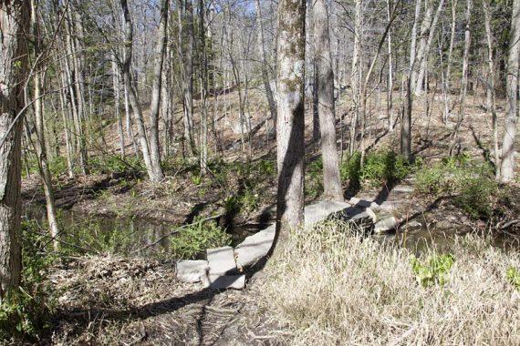 Crossing stream on large rock slab