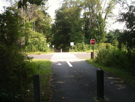 Road crossing on the Henry Hudson Trail