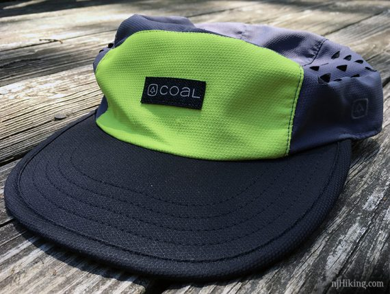 Front of Coal Hat with bright green front panel and grey brim
