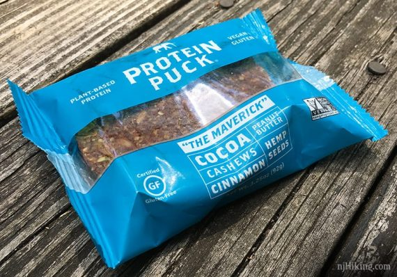 Protein Puck energy bar in its wrapper