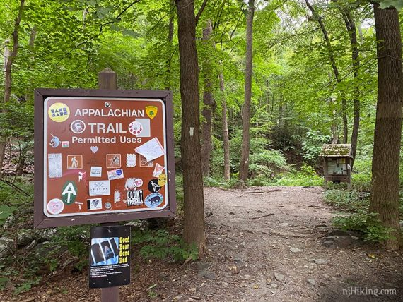 Appalachian Trail sign covered in stickers
