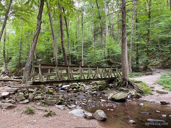 Long wooden footbridge over Dunnfield Creek