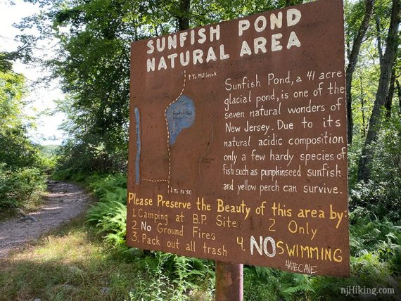 Sunfish Pond Natural Area trail sign