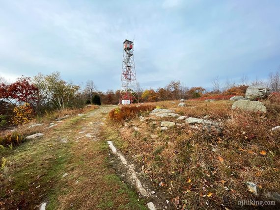 Catfish Fire tower and the surrounding open rocky area