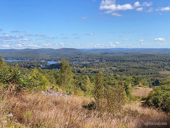 View of Greenwood Lake and surrounding hills