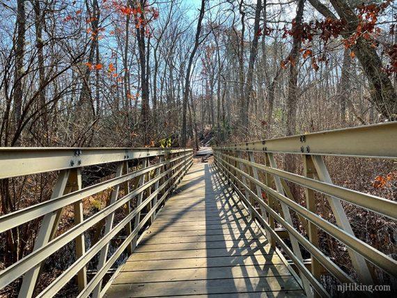 Long metal foot bridge