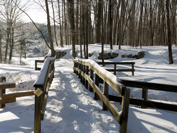 Wooden footbridge on a snowy trail