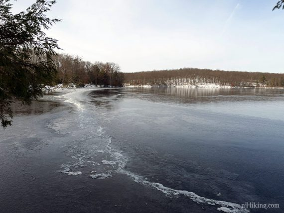 View of frozen Wawayanda Lake
