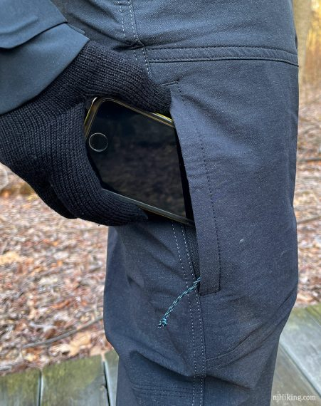 Zippered thigh pocket on the Klash Pant