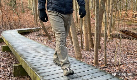 Front of hiking pant while walking