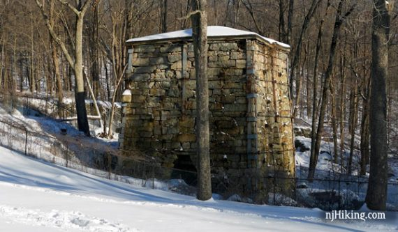 Stone remains of an iron furnace at Wawayanda State Park