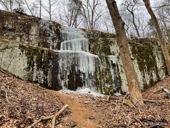 Frozen cascade on a cliff