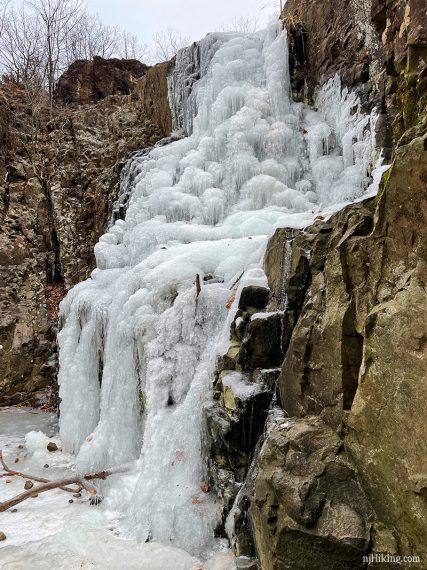Close up of frozen Hemlock Falls