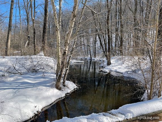 Stream surrounded by snow.