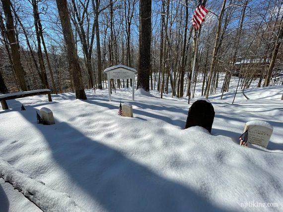 Willcocks and Badgley cemetery in snow