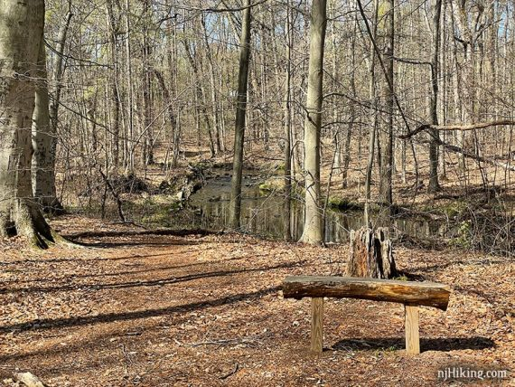 Wooden bench next to a curve in a brook
