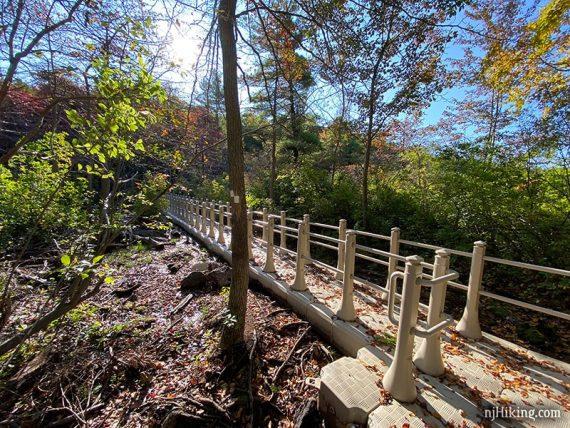 Floating bridge on a trail