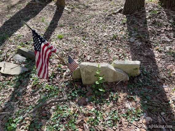 Small unmarked gravestones and American Flag.