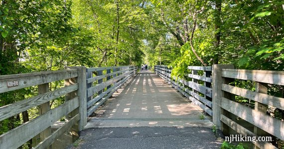 Paved trail with wooden fence and surrounded by trees