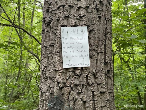 Highlands rerouted sign on tree