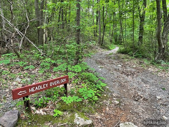 Headley Overlook sign next to a gravel trail