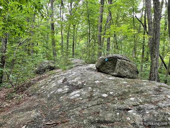 Large slab of rock with a boulder on it