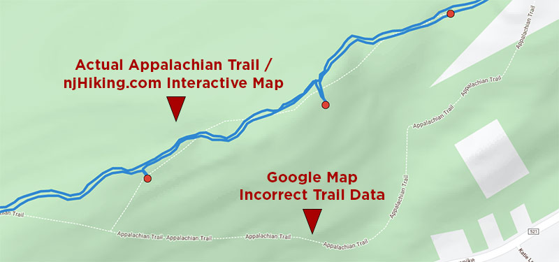 Map showing trail differences
