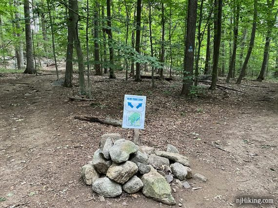 Blue Loop Sign on top of a large pile of rocks