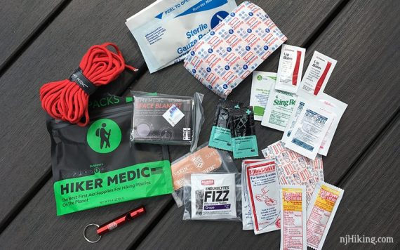 Contents of the Hiker Medic first aid kit