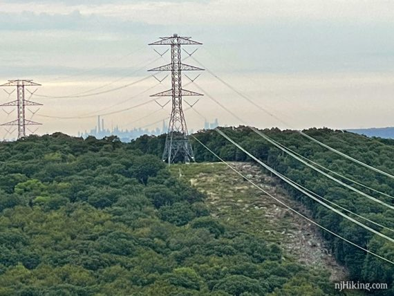 Power line and tower with New York City skyline behind it