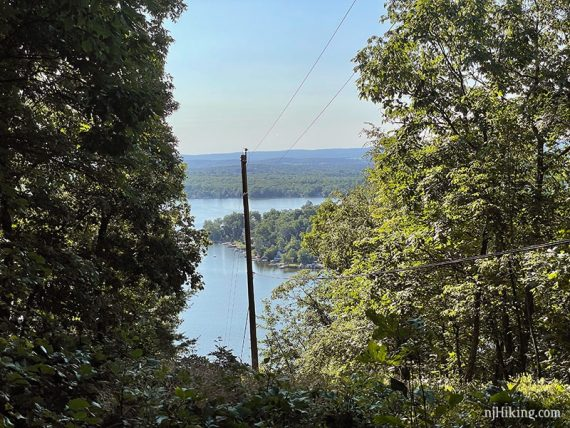 Limited view of a lake through a break in trees due to a power line