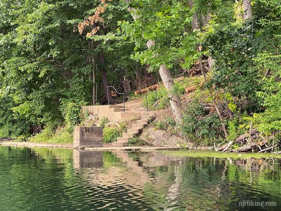 Remains of cement steps down to lake edge