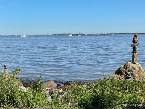 View of Sandy Hook Bay and New York skyline from Bayshore Trail