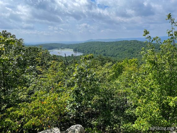 Ramapo Lake seen in the distance from the Castle Loop trail