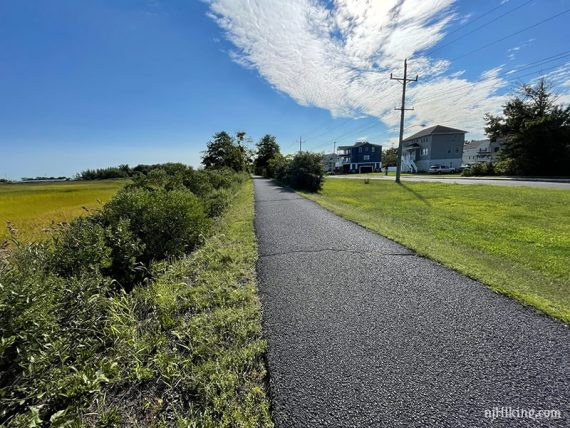 Paved rail trail with marsh on one side and houses on the other