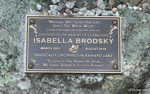 Memorial plaque for Isabella Brodsky